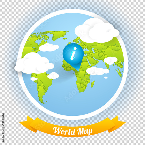 World Vector Map with Marks and Web Elements