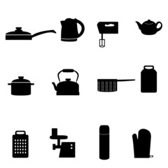 Set of icons of different types of kitchen appliances