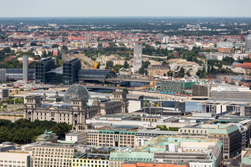 Aerial view of Berlin with Reichstag and Hauptbanhof