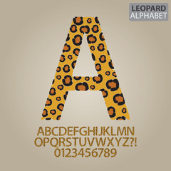 Leopard Skin Alphabet and Numbers Vector