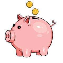 vector cartoon piggy bank