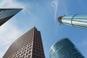 Upward view of modern skyscrapers near Potsdamer Platz in Berlin