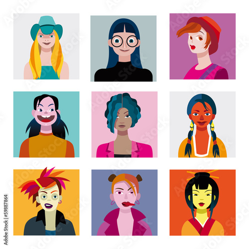 Teenagers Girls Avatars Set