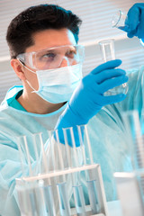 Medical scientist working in laboratory