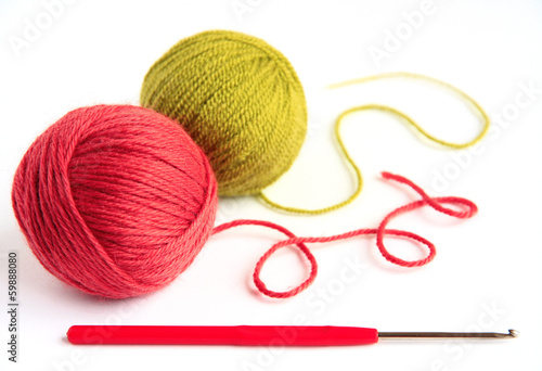 Skeins for knitting and crochet hook