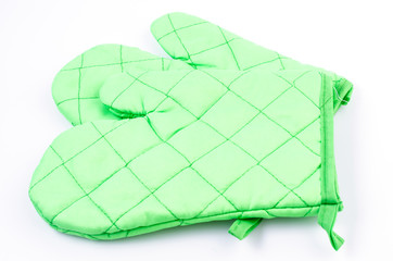 Green oven glove on isolated white background