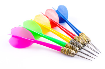 Color darts on isolated white background