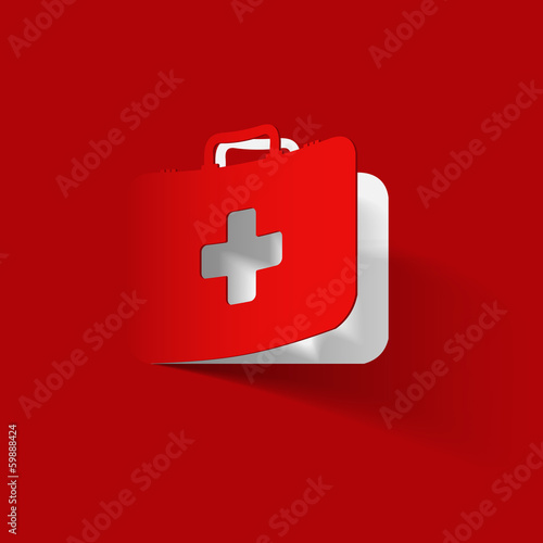 First Aid kit box, paper sticker - 59888424