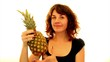 woman happy about a pineapple