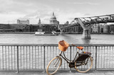 Bicycle by River Thames, St Paul's cathedral, London, UK