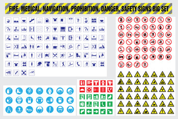 Fire medical navigation danger safety prohibition signs
