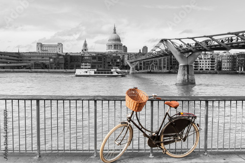 Bicycle by River Thames, St Paul's cathedral, London, UK - 59889077