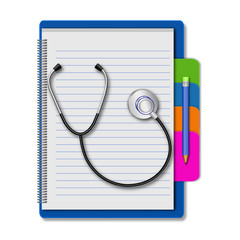 Stethoscope with pencil on notebook