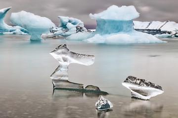 Blue glacier ice Jokulsarlon lagoon