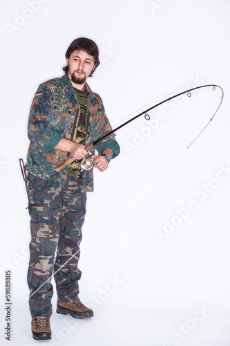Concentrated fisherman with rod