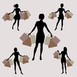 silhouette of girls with shopping