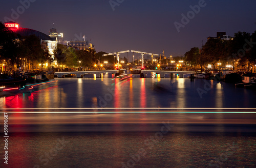 Illuminated Magere Brug or Skinny Bridge of Amsterdam