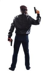 Endangering man holding guns in his hands