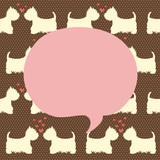 Cute West highland terrier couples with hearts. Seamless pattern