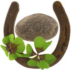 porte bonheur pour 2015, fer à cheval et trèfle