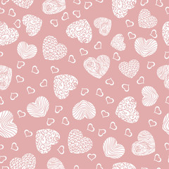 Seamless pattern with white hearts on a pink background