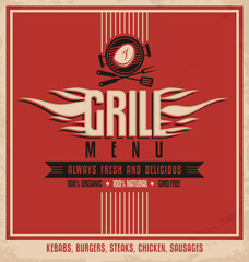 Grill menu retro flyer design template