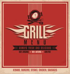 Grill menu retro flyer design template