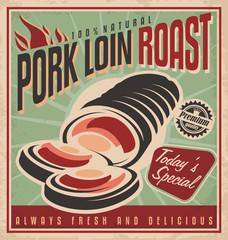 Pork loin roast retro poster design