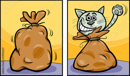 let the cat out of the bag cartoon