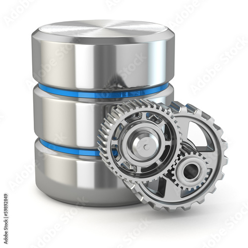 Storage administration concept. Database symbol and gears. - 59892849