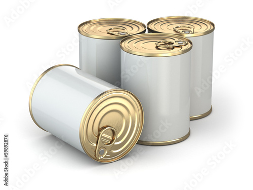 Food tin cans on white isolated background.