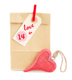 paper bag  for valentines day with tag and  heart