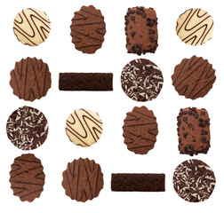Chocolate biscuit assortment, isolated over white