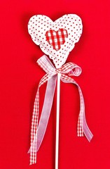 Valentines  Day Heart on Red Background with copy space. Valenti