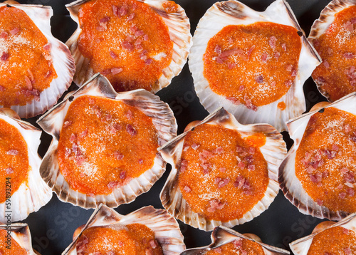 Baked scallops background.