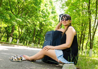 Woman going on summer vacation