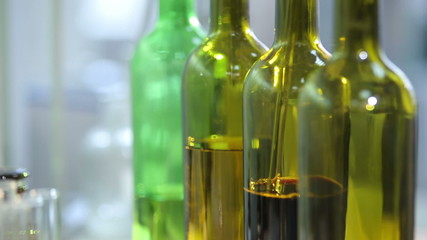 bottles of wine are in a laboratory