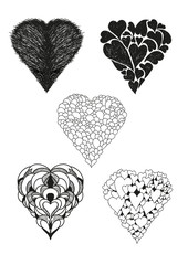 Collection of heart vector calligraphic