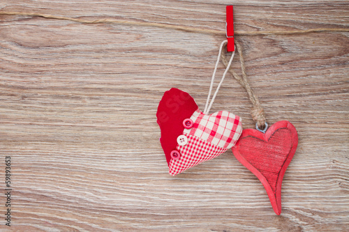two red hanging hearts