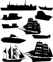 collection of ships - vector