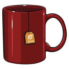 vector cartoon mug with tea bag
