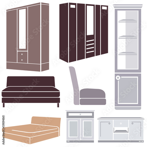 furniture set, interior design icon set