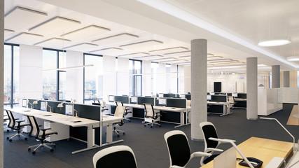 helles großraumbüro - white clean workplace