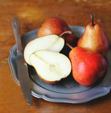 Fresh garden pears in a plate