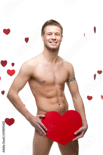 funny naked man holding big red paper heart