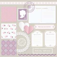 Scrapbook set with different elements.
