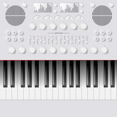 Vector Synthesizer Keys Knobs Buttons and keyboard