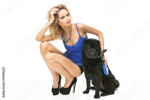 Girl with black dog