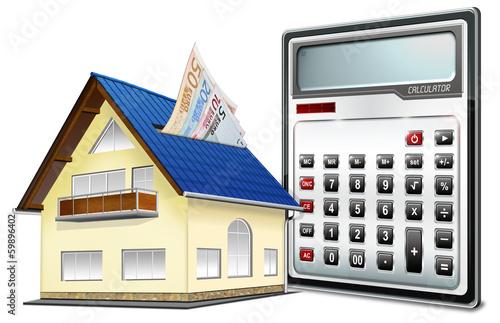 Haus, EURO, Taschenrechner, Finanzierung