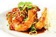 Thai food - deep fried prawns in Tamarind sauce with steam rice